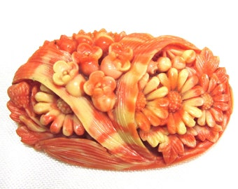 Deeply Molded Celluloid Floral Brooch Pin Signed Japan, C Clasp