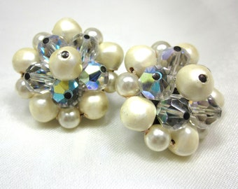 Vintage AB Crystal Glass and Pearl Cluster Earrings, Molded Faux Pearl, Beads, Lever Back