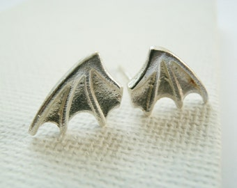 Tiny Bat Wings Earrings - Bat Studs Sterling Silver - Dragon Wing Studs - Dragon Jewelry Sterlilng Silver - Bat Wing Studs Sterling Silver