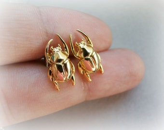 Scarab Gold Beetle Earrings - Insect Studs - Solid Brass Gold Plated - Unisex Men studs - Tiny Cartilage Earring