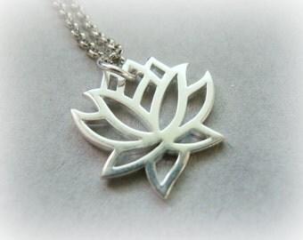 Lotus Flower Necklace, Yoga Necklace, Zen Necklace, Lotus Silver Necklace, Minimalist Necklace, Sterling Silver Lotus Necklace