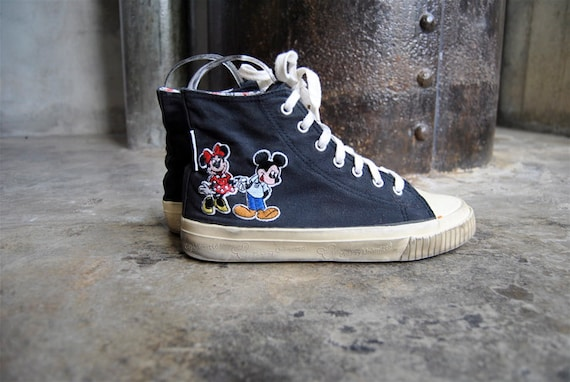 reserved vintage shoes, 1990's Mickey Mouse and Minnie Mouse high top sneaker, size 8, 38.5
