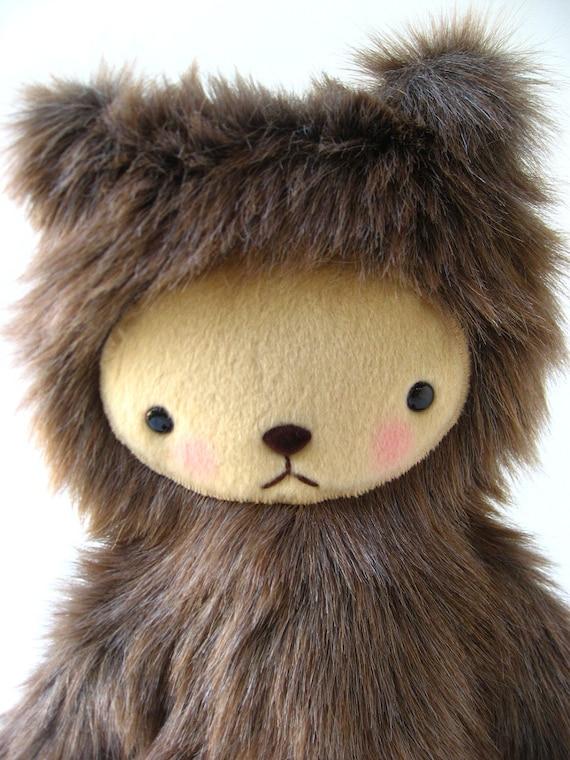 Kawaii Teddy Bear Plushie Mocha Brown Faux Fur Large CAMERON