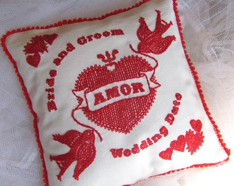 Mini Amor Heart and Lovebirds Personalized Embroidered Wedding Pillow