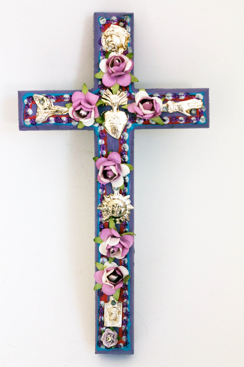 Mexican Red Cross >> Mexican milagros on wooden cross // Charms Spring March