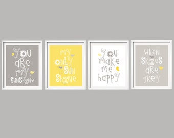 SALE Kids Wall Art You Are My Sunshine Yellow and Gray Nursery decor ,set of 4, 5x7, baby boy, baby girl birthday gift, yellow gray  art
