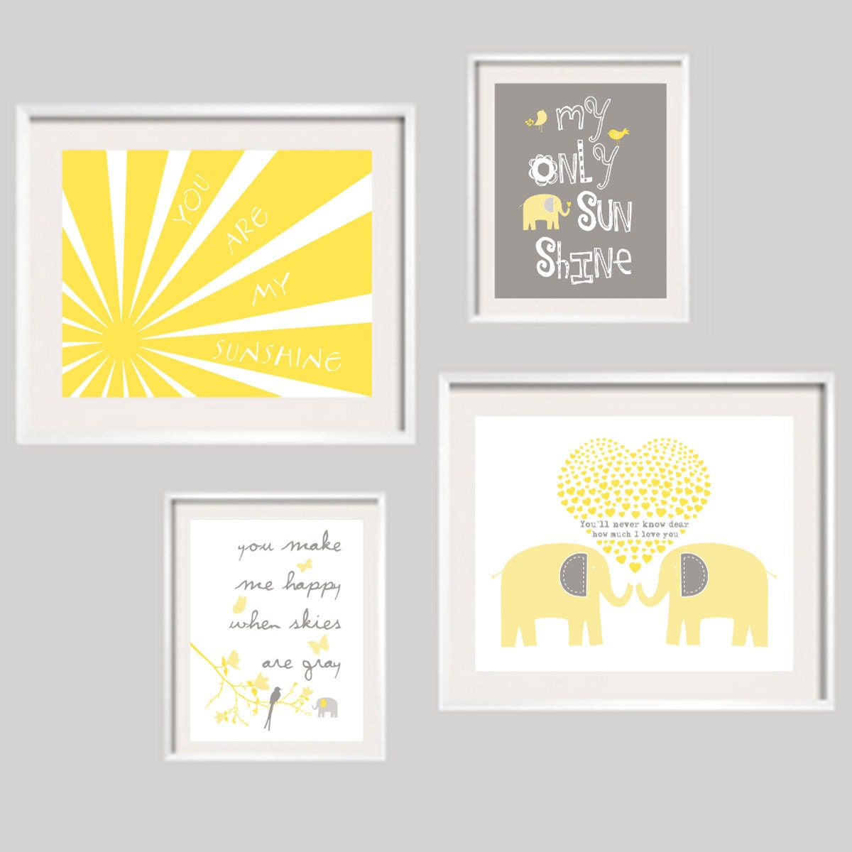 you are my sunshine wall art harper yellow and grey elephant. Black Bedroom Furniture Sets. Home Design Ideas