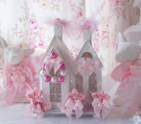 Shabby Chic Pink Christmas Village House Glitter Victorian Putz Style French Bottlebrush tree wreath Cottage SCT Marie Antoinette
