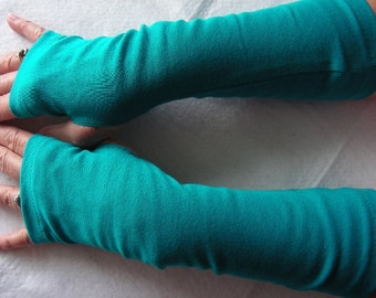 Teal Jersey Fingerless Gloves, Jersey Arm Warmers, Texting Gloves, Driving Gloves, Cycling Glove, Hand Warmers, Biking Glove, Jersey Mitts
