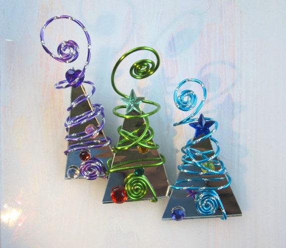 Christmas Tree Trio: Items Similar To Mirror Christmas Tree Ornament Trio Wire