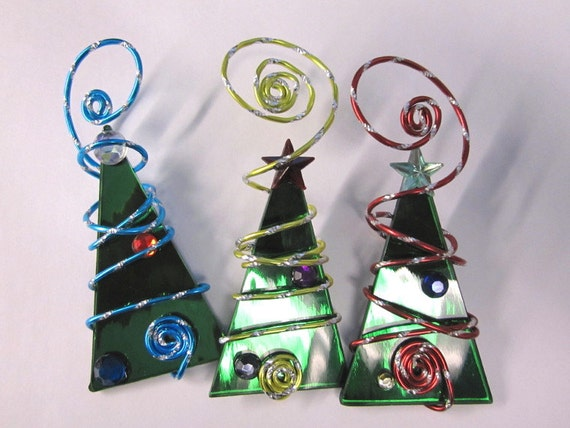 Green Mirror Christmas Tree Ornament Trio Wire Wrapped