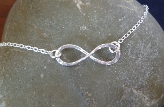 Reserved for Andy -  Infinity Necklace - Hammered Fine Silver - One Inch Size - Adjustable Length