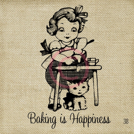 Baking is Happiness LARGE Digital Vintage Image Download Sheet Transfer To Totes Pillows Tea Towels T-Shirts