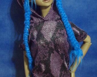 Purple Snakeskin Hooded Dress for 60cm Girl BJD SD SD13