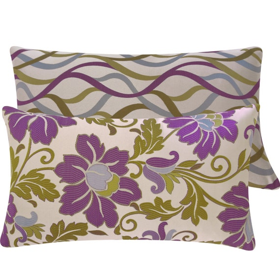 Purple Green Throw Pillow : Jacquard Purple Green Throw Pillow Cover by ChloeandOliveDotCom