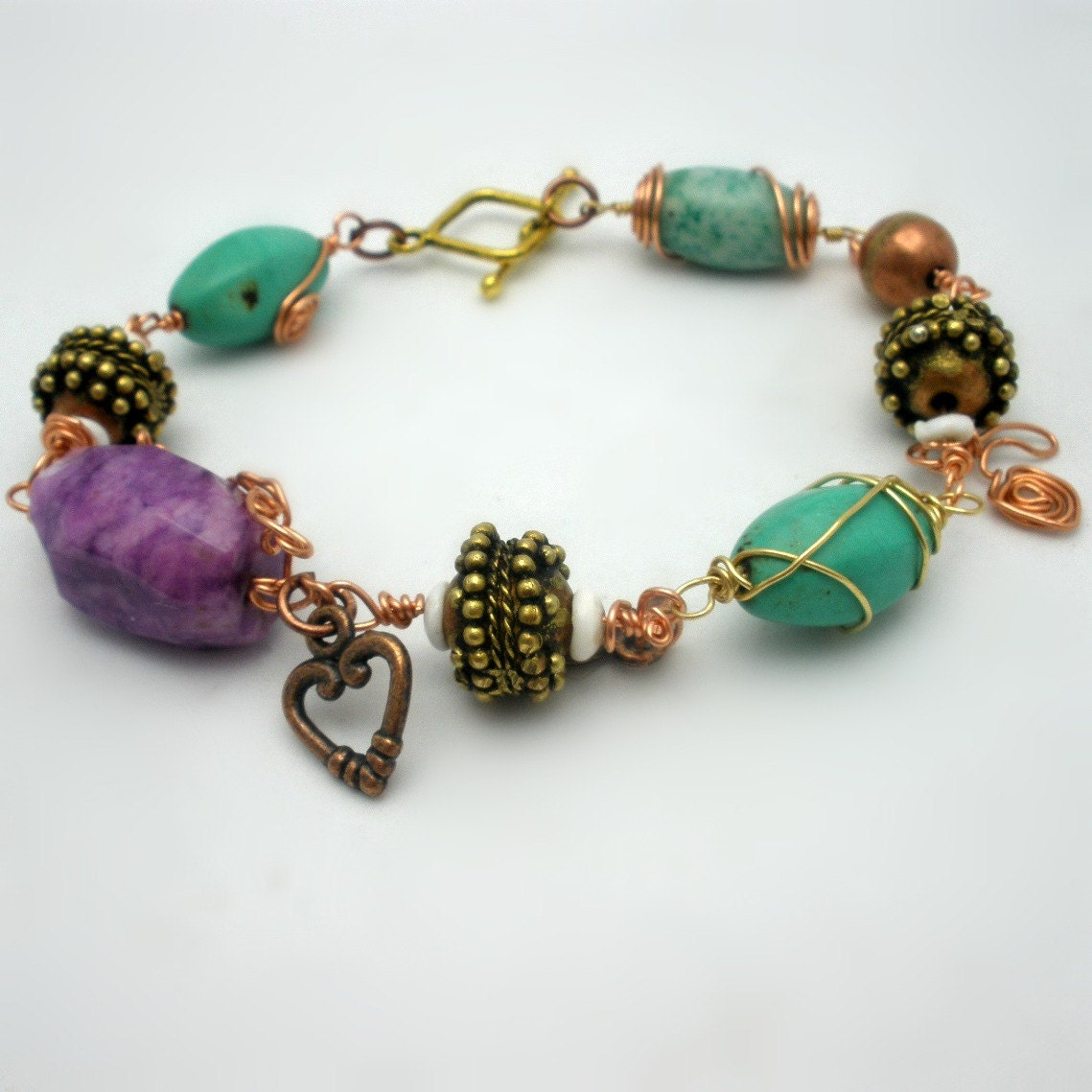 Handcrafted Bracelet Boho Tribal Style wire wrapped beads