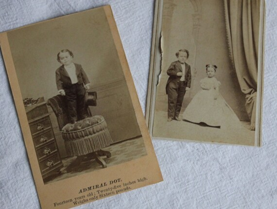 2 CDV's 1800s,  Admiral Dot at 14 and On His Wedding Day