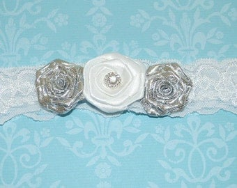 SALE - White Lace Garter with Silver and White Satin Flowers and a Rhinestone Center. Bridal Garter - Ready To Ship