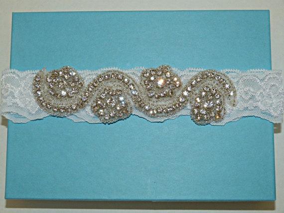 White Lace Garter, Stretch Lace Garter, Rhinestone Garter Wedding Garter - Ready To Ship