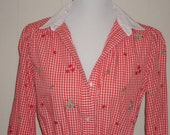 Red Gingham Dress with Green Apples - Size Med.