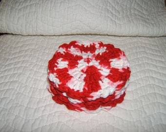 Holiday Candy Cane crochet coasters (4)
