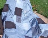 Reserved listing for Eva Patchwork Blue Jean Lap Quilt