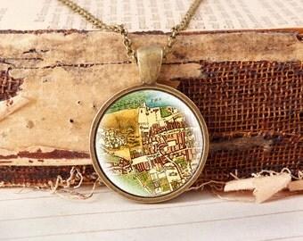 Map of Edinburgh  - Vintage Necklace