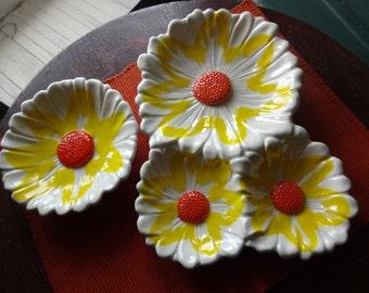 Vintage Santa Anita Ware Pottery Two Dish Sunflower Set