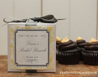8 - Personalized Cupcake Boxes - Damask Design - ANY COLOR - bachelorette party favors, wedding favors, baby shower favors, bridal shower