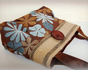 Brown and blue floral Handbag Purse Everyday Bag : Jesse