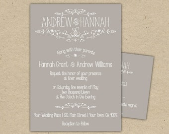 Vintage Wedding Invitation and RSVP - P R I N T E D country chic outdoor wedding (1054)