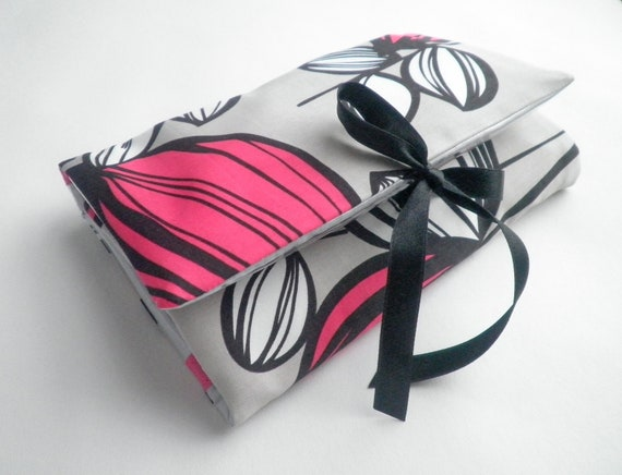 Unique Womens Gift Make Up Bag Grey and Magenta Pink with Bold Print