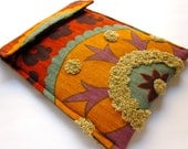 Kindle sleeve - Kindle touch - Kindle Paperwhite - embroidered gadget - tribal threads sunset purple red turquoise taupe orange case