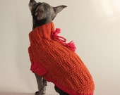 Burnt Orange Ribbed, XS dog sweater,  knit in wool with coral colored trim and tassel