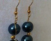 Navy Gold Earring Earring (Wire Wrapped)