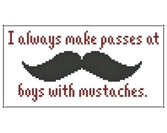 BOYS WITH MUSTACHES Cross Stitch Chart