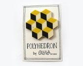 POLYHEDRON Felt Brooch- Geometric.Cubes - olula