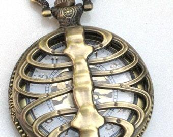 Steampunk - SKELETON - Rib Cage - Pocket Watch - Necklace - Antique Brass - Neo Victorian - By GlazedBlackCherry