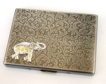 Steampunk - Metal STOMPING ELEPHANT Cigarette Case - Slim Wallet - Large Card Case - Antique Silver By GlazedBlackCherry S2
