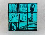 Memphis Bridge Letter Wood Art - Teal