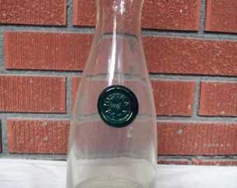 Vintage Aqua Detail Milk Bottle or Wine Carafe