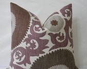 "P. Kaufmann Suzani Fahri Grape - 18"", 20"" or 22"" x 22"" Decorative Designer Pillow Cover"