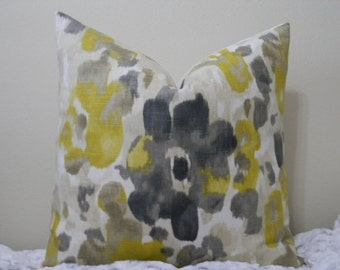 "SALE - Dwell Studio/ Robert Allen Landsmeer Print/ Citrine,Greys,Tan and White -18"" - 22""  SquareDecorative Designer Pillow Cover"