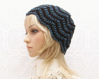Hand crocheted hat - chevron hat - navy blue and black - Women's Beanie Winter Fashion Accessories Sandy Coastal Designs - ready to ship