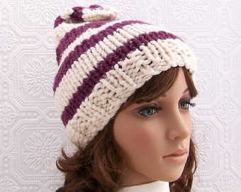 Knit hat - cream & mulberry color stripes - Women's Winter Beanie Winter Fashion handmade by Sandy Coastal Designs ready to ship