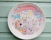 Baby Birth Plate - Woodland Picnic, Pink Shades