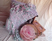Cottage Chic Pastel Decor Throw Girls Room Decor Blanket Pink Decor Afghan (Pastel Mint, Blush, White)