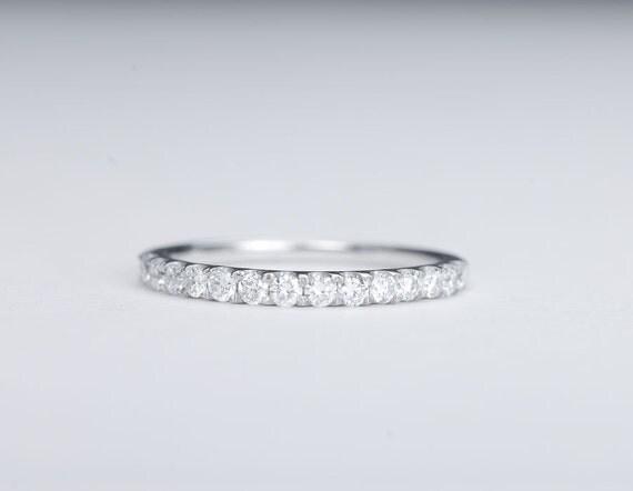 CERTIFIED - E-F, VVS -VS Diamond Wedding Band 14K White Gold 2mm - sale
