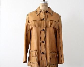 vintage buckskin jacket, fringe leather coat