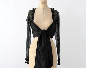 FREE SHIP  vintage Jenny Bannister silk wrap top